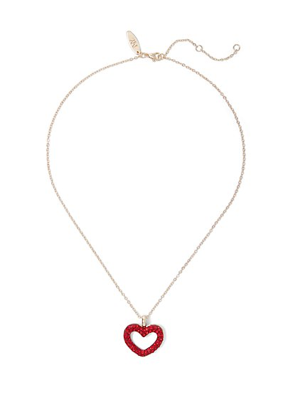 Pave Open-Heart Goldtone Pendant Necklace - New York & Company