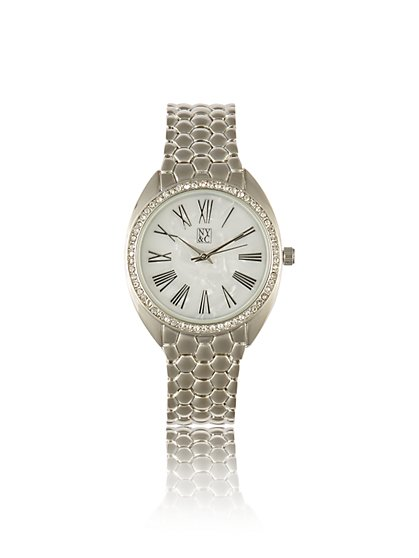 Pave Roman Numeral Link Watch - New York & Company