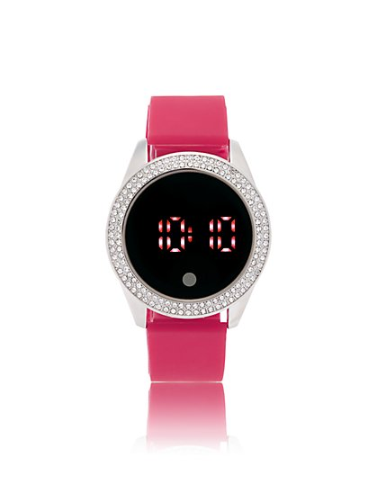 Pave Round Digital Watch - New York & Company