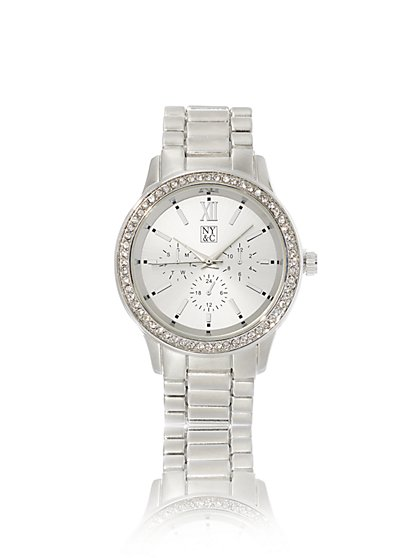 Pave Silvertone Link Watch - New York & Company