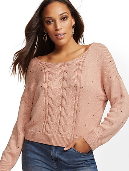 Peach Metallic Rhinestone V-Neck Sweater - New York & Company