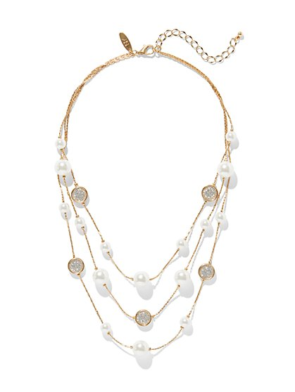 Pearl & Crystal Layered Necklace - New York & Company