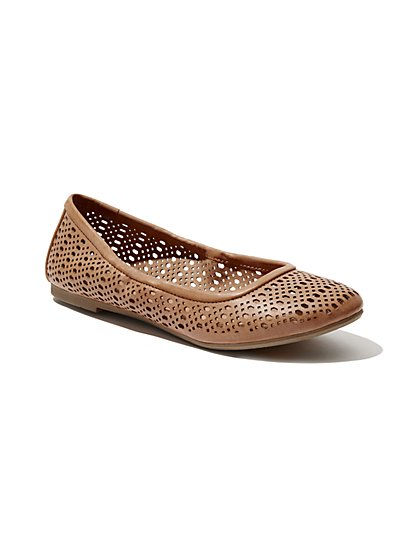 Perforated Faux-Leather Ballet Flat - New York & Company