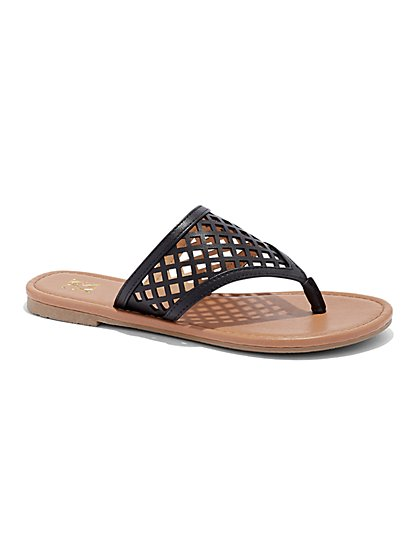 Perforated Thong Sandal - New York & Company