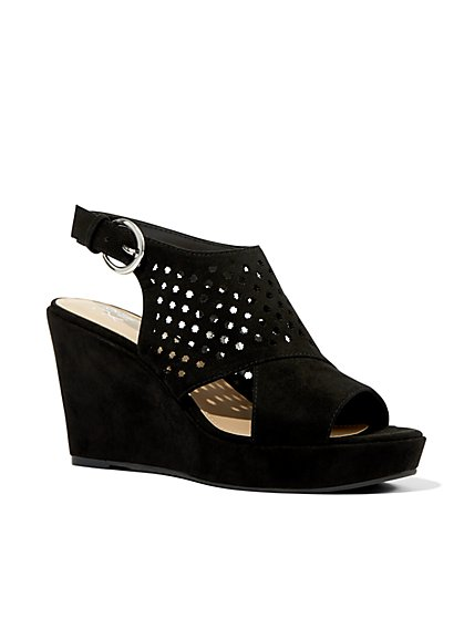 Perforated Wedge Sandal - New York & Company