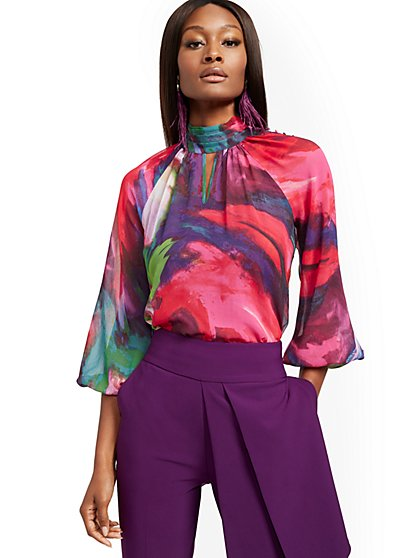 Petite Abstract-Print Mock-Neck Blouse - New York & Company