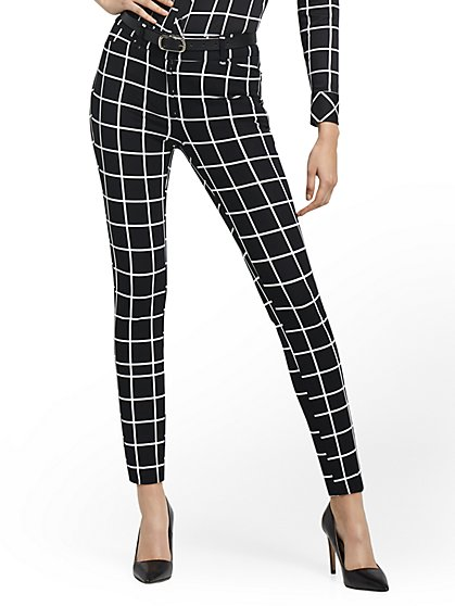 Petite Audrey High-Waisted Ankle Pant - Grid-Print - New York & Company