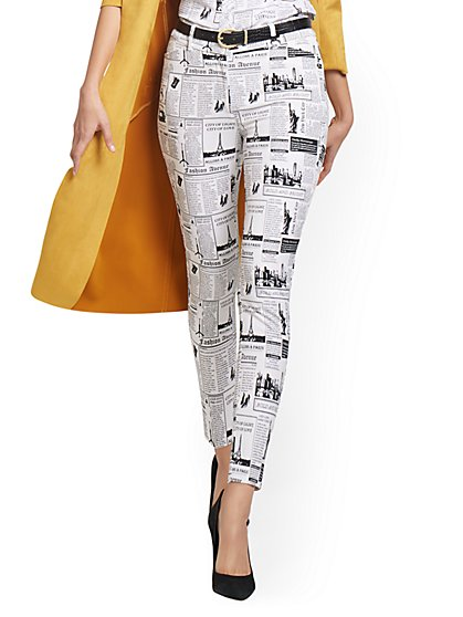 Petite Audrey High-Waisted Ankle Pant - Newspaper-Print - New York & Company