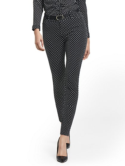Petite Audrey High-Waisted Ankle Pant - Polka Dot-Print - New York & Company