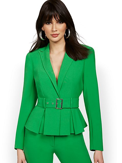 Petite Belted Peplum Jacket - New York & Company