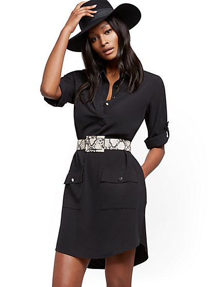 Petite Belted Safari Shirtdress - New York & Company