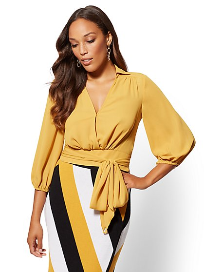 Petite Belted Wrap Blouse - New York & Company