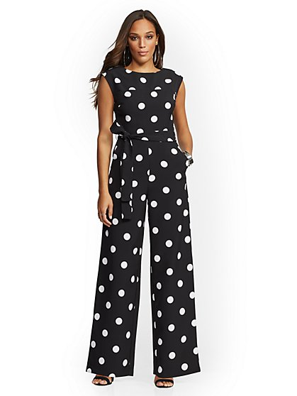 Petite Black Dot-Print Jumpsuit - New York & Company
