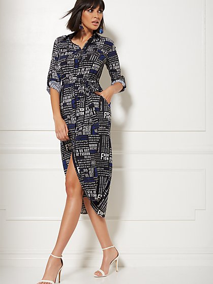 Petite Black Newsprint Belted Shirtdress - New York & Company