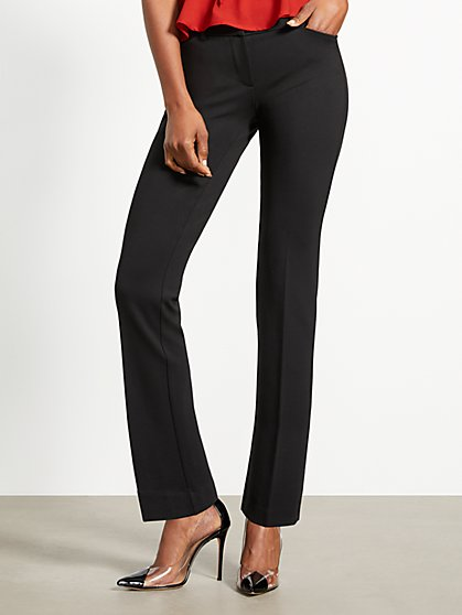 Petite Black Straight-Leg Pant - Signature - Full-Time Stretch - 7th Avenue - New York & Company