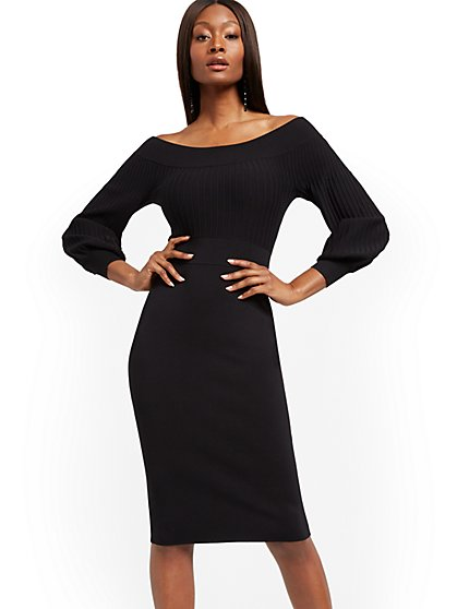Petite Black Sweater Sheath Dress - New York & Company