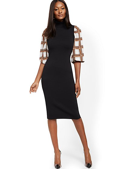 Petite Black Twofer Sweater Sheath Dress - New York & Company