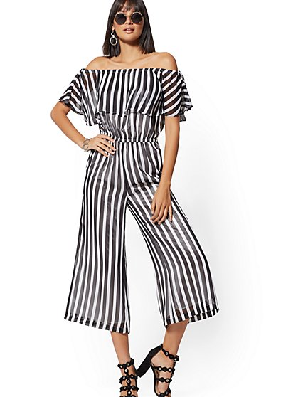 119f73b2fc49 Petite Black   White Stripe Off-The-Shoulder Jumpsuit - New York   Company  ...
