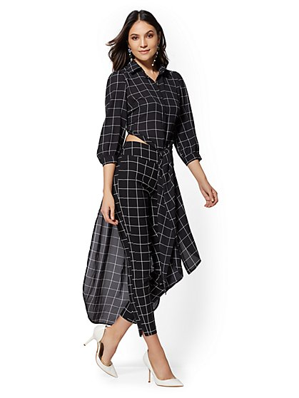 Petite Black Windowpane-Check Hi-Lo Tunic Shirt - New York & Company