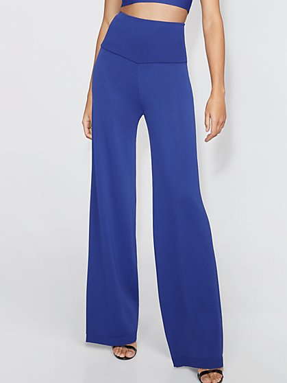 Petite Blue Palazzo Sweater Pant - Gabrielle Union Collection - New York & Company