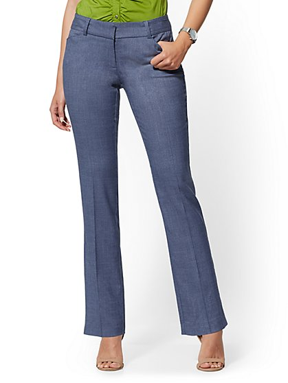 Petite Blue Straight Leg Pant - Signature Fit - 7th Avenue - New York & Company