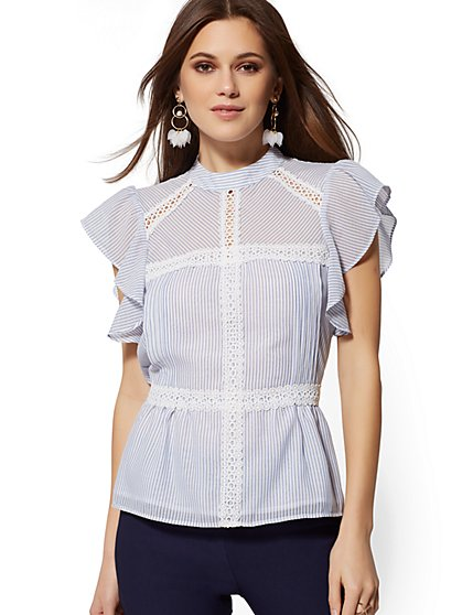 Petite Blue Stripe Crochet-Trim Blouse - 7th Avenue - New York & Company