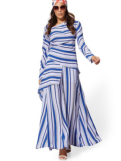 Petite Blue Stripe Palazzo Pant - 7th Avenue - New York & Company
