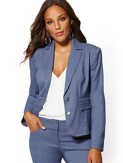Petite Blue Two-Button Jacket - 7th Avenue - New York & Company