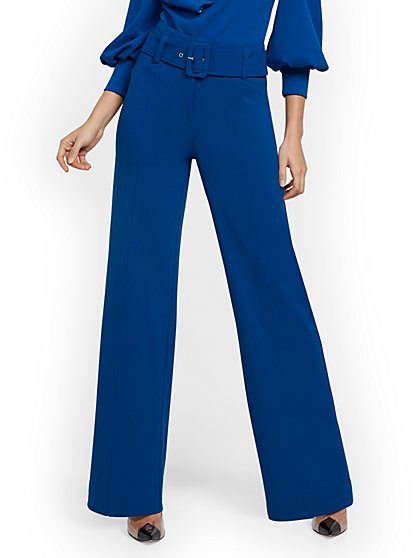 Petite Blue Wide-Leg Belted Pant - 7th Avenue - New York & Company