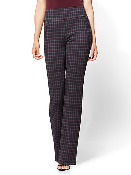 Petite Bootcut Pull-On Pant - Burgundy Plaid - Ponte - 7th Avenue - New York & Company