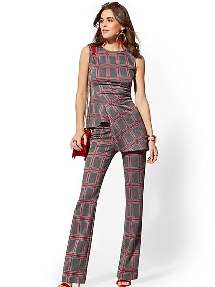Petite Bootcut Pull-On Pant - Signature Fit - Plaid - 7th Avenue - New York & Company