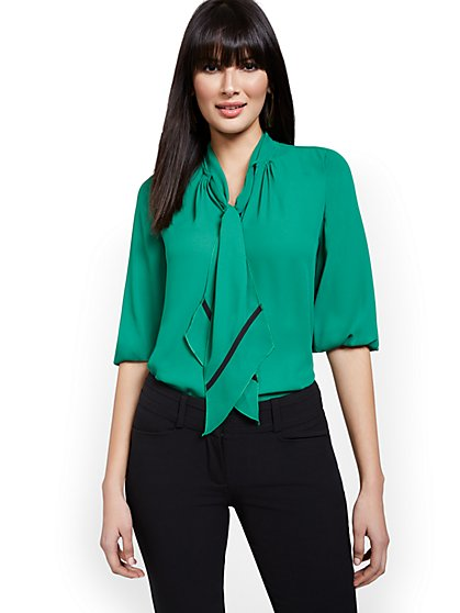 Petite Bow Accent Blouse - New York & Company