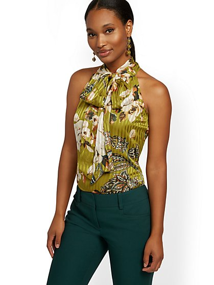 Petite Bow-Accent Halter Blouse - 7th Avenue - New York & Company