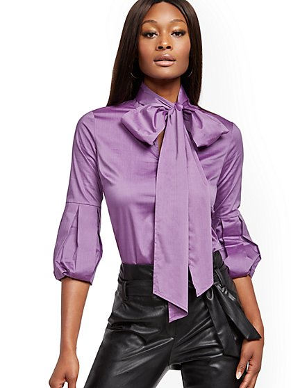 Petite Bow-Accent Poplin Blouse - 7th Avenue - New York & Company