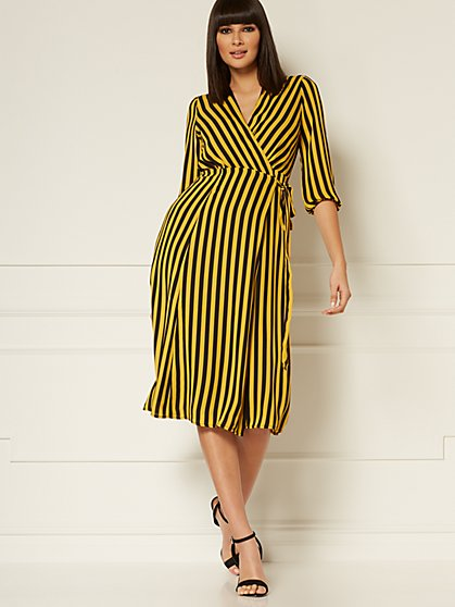 Petite Brenda Stripe Wrap Dress - Eva Mendes Collection - New York & Company