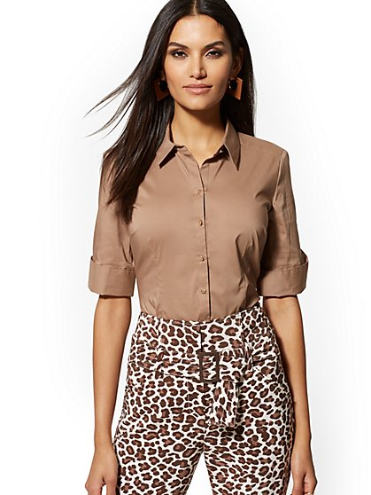 Petite Brown Madison Stretch Shirt - New York & Company