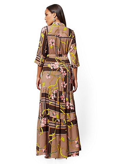 df9d742521 ... Petite Brown Mixed-Print Maxi Shirtdress - New York   Company ...