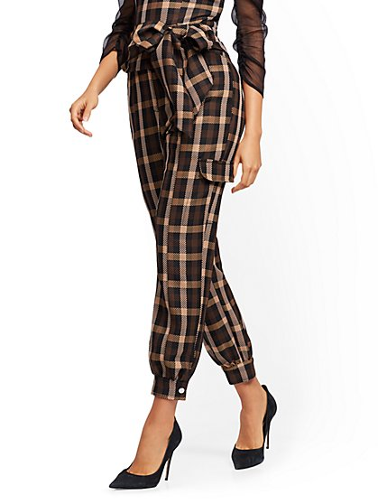 Petite Brown Plaid Slim Ankle Pant - 7th Avenue - New York & Company