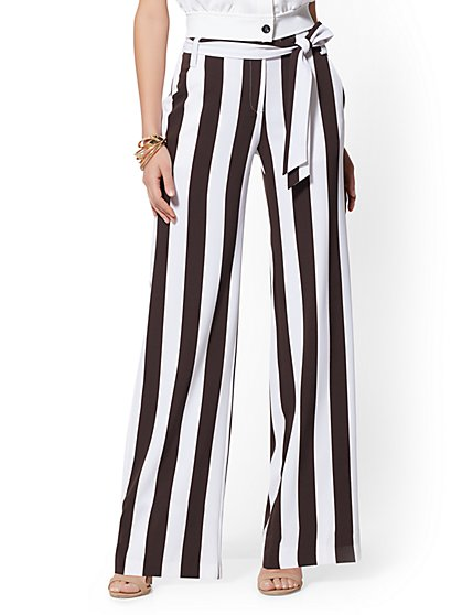 Petite Brown Stripe Palazzo Pant - 7th Avenue - New York & Company