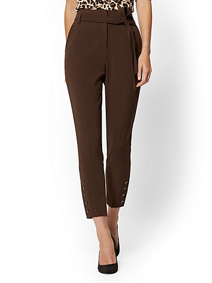 Petite Button-Accent Belted Slim Pant - Double Stretch - 7th Avenue - New York & Company