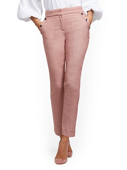Petite Button-Accent High-Waist Ankle Pant - 7th Avenue - New York & Company