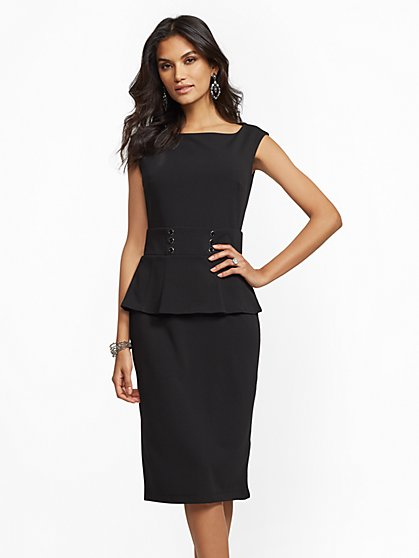 Petite Button-Accent Peplum Sheath Dress - New York & Company