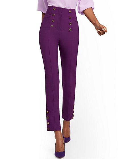 Petite Button-Accent Straight Slim-Leg Ankle Pant - 7th Avenue - New York & Company