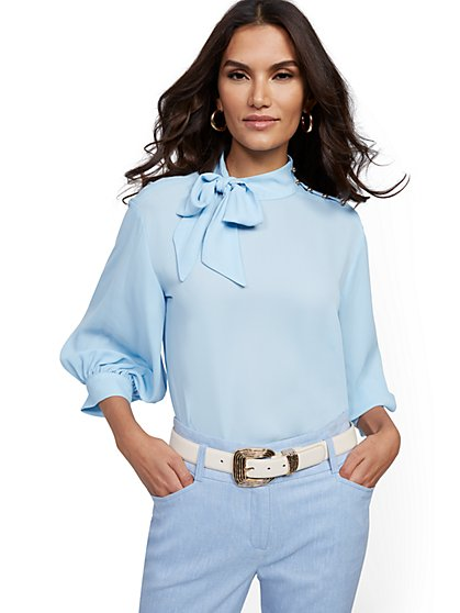 Petite Button-Accent Tie-Front Blouse - 7th Avenue - New York & Company