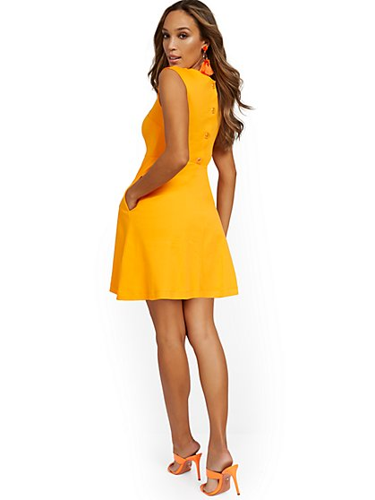 Petite Button-Back Fit and Flare Dress - City Knits - New York & Company