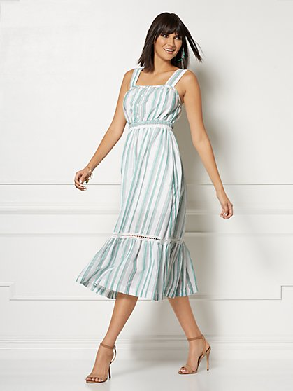Petite Cameron White Stripe Maxi Dress - Eva Mendes Collection - New York & Company