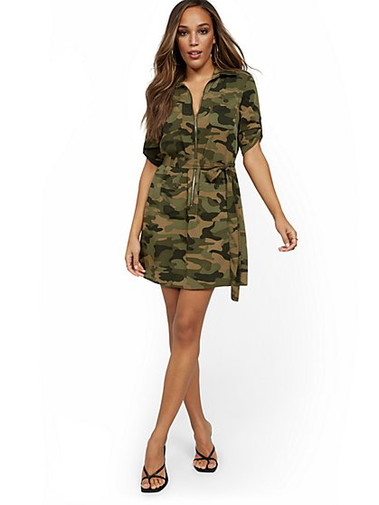 Petite Camo-Print Shirtdress with Zip - New York & Company