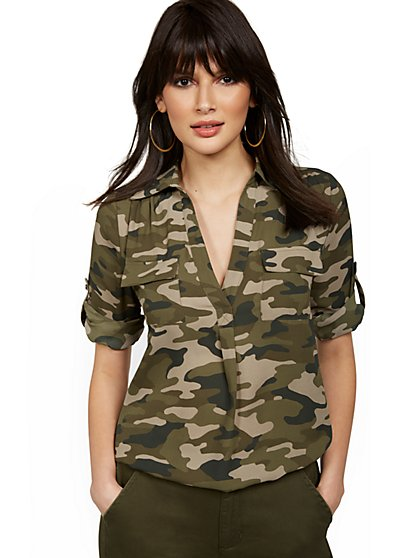 Petite Camo-Print Split-Neck Top - New York & Company
