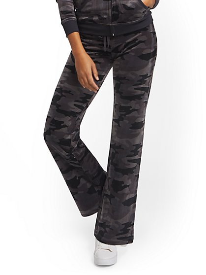 Petite Camo-Print Velour Straight-Leg Pant - Dreamy Velour Collection - New York & Company