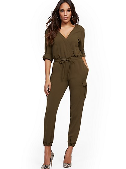 Petite Cargo-Pocket Wrap Jumpsuit - New York & Company